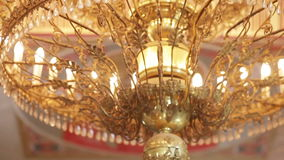 Chandelier in the church stock video footage