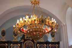 Chandelier in the church Stock Images