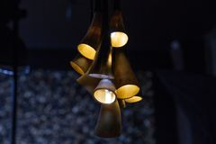 Chandelier from cow horns in the interior royalty free stock photo