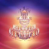 Chandelier, crystal, candles. Stock Photography