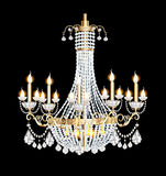 Chandelier with crystal pendants on the black. Illustration of a modern chandelier with crystal pendants on the black Stock Photo