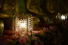 Chandelier with crystal pendants. In temple Royalty Free Stock Photo
