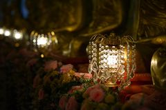 Chandelier with crystal pendants. In temple Royalty Free Stock Photography