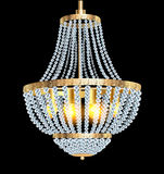 Chandelier with crystal pendants. Illustration of a chandelier with crystal pendants on the black Stock Photography