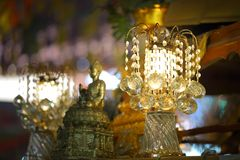 Chandelier with crystal pendants. In temple Royalty Free Stock Image