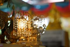 Chandelier with crystal pendants. In temple Stock Photo