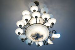 Chandelier with crystal pendants. In temple Stock Photography