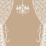Chandelier and curtains. Vintage card with chandelier and curtains Stock Photos