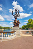 Chandelier with dancing cherubs on Pont Alexandre III in Paris Royalty Free Stock Photos