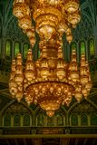 Chandelier detail of the Muscat Grand Mosque - 4. Chandelier detail of the Muscat Grand Mosque Royalty Free Stock Image