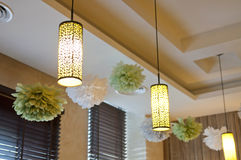 Chandelier and flower decoration Stock Photo