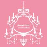 Chandelier frame. Chandelier pink frame. Illustration Stock Photo
