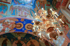 Chandelier and frescoes inside the Transfiguration Cathedral of the Saviour Monastery of St. Euthymius, Russia, Suzdal stock photo