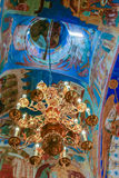 Chandelier and frescoes inside the Transfiguration Cathedral of the Saviour Monastery of St. Euthymius, Russia, Suzdal royalty free stock photography