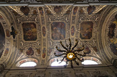 Chandelier, frescos and other beautiful decorations inside Dominican church in Vienna Royalty Free Stock Photos