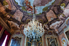 Chandelier and Frescos in Palazzo Dolfin Royalty Free Stock Image