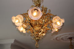 Chandelier. Gold chandelier in historic summer guest house, Japan Stock Photos