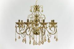 Golden Chandelier Gold Crystal. Chandelier golden color with gold crystal Stock Image
