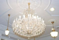 Chandelier hanging from ceiling Royalty Free Stock Photo