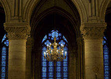 Chandelier inside Notre Dame, Paris Stock Photo