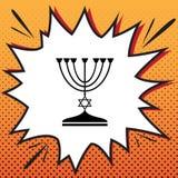 Chandelier juif de Menorah en silhouette noire Vecteur Bandes dessinées s illustration stock