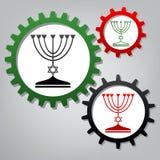 Chandelier juif de Menorah en silhouette noire Vecteur Trois Co illustration libre de droits