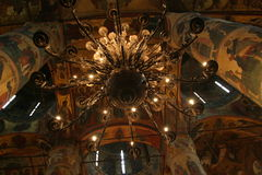 Chandelier in the Kremlin. Church chandelier in the Kremlin royalty free stock photography