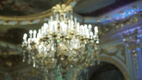Chandelier in palace. Chandelier lamp in luxury palace stock footage