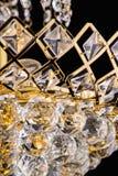 Chandelier light in interior, Chrystal chandelier close-up.crystal part from chandelier,chandelier, lighting, equipment, luxury, Royalty Free Stock Photos