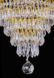 Chandelier light in interior, Chrystal chandelier close-up.crystal part from chandelier,chandelier, lighting, equipment, luxury,. Chandelier light in interior Royalty Free Stock Photos