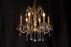 Chandelier, luxury retro style on dark background. stock photography