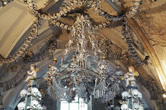 Chandelier made of bones and skulls Royalty Free Stock Image