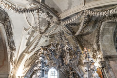 Chandelier made of bones and skulls-Sedlec Stock Photo