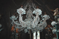 Chandelier made on natural human bones. Kutna Hora. Czeh Republic. Stock Image