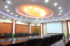 Chandelier in meeting room Stock Photography