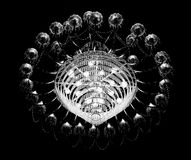 Chandelier. A monochrome photo of a chandelier used during Durga Puja in Kolkata,India Stock Photography