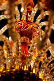 Chandelier in the mosque. Chandelier in the Turkish mosque with white and red crystals Royalty Free Stock Photography