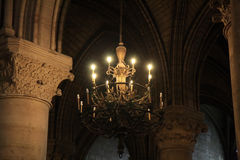 Chandelier Notre Dame, Paris Stock Photos