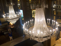Chandelier in opulent hotel  in Louisville Kentucky USA. One of the Magnificent waterfront hotels in Louisville Kentucky USA Royalty Free Stock Photo