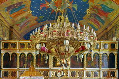 Chandelier in orthodox church - Bujoreni Monastery, landmark attraction in Romania Royalty Free Stock Photography