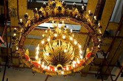 Chandelier in orthodox church. Lighting chandelier in orthodox church close up Stock Photography