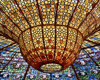 The Chandelier - Palace of Catalan Music stock photography