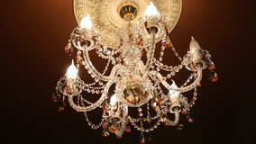 Chandelier in the palace stock video