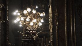 Chandelier in palace. Chandelier lamp in luxury palace stock video footage