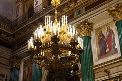 Chandelier and parts of the interior of St. Isaac`s Cathedral. Royalty Free Stock Photos