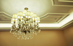 Crystal chandelier room ceiling light lamp home lighting Royalty Free Stock Photography