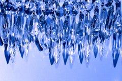 Chandelier prism garland. Vintage crystal chandelier prisms as decorative winter, holiday garland Stock Image