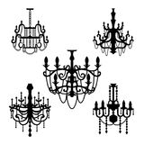 Chandelier set vector. Chandelier set of silhouettes vector stock illustration
