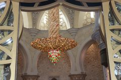 Chandelier Sheikh Zayed mosque in Abu Dhabi. Stock Photos