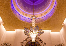 Chandelier in the Sheikh Zayed mosque in Abu Dhabi, United Arab Emirates Royalty Free Stock Images